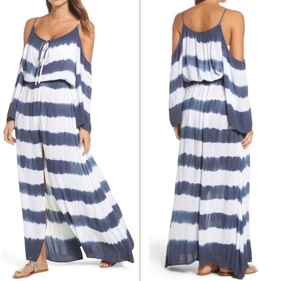 Elan Other - Elan Stripe Maxi Cold Shoulder Dress